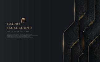 sobreposição geométrica abstrata em fundo preto com glitter e linhas douradas brilhantes combinações de pontos dourados. luxo moderno e design elegante com espaço de cópia. ilustração vetorial vetor