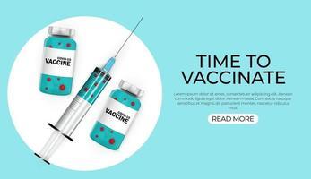 hora de vacinar banner com seringa em fundo azul vetor