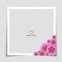 modelo de moldura de foto de fundo de férias com flores sakura vetor