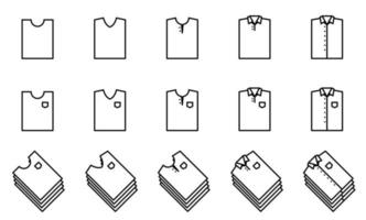 t shirt icon set - vector. estilo de forma dobrada. vetor