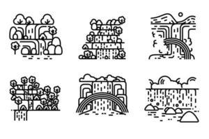conjunto de vetores de ilustração de cachoeira