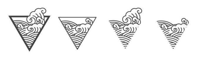 ilustração de linha de onda oriental do oceano. vetor de onda do japão