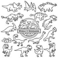 conjunto de vetores de design de personagens de dinossauros