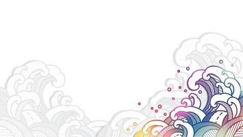 onda de água oriental colorida em estilo de corte de papel. vetor