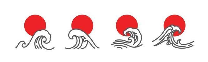 ilustração do vetor de onda e sol vermelho no Japão