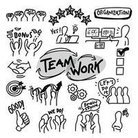 vetor de organização de trabalho em equipe desenhado à mão