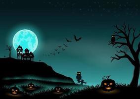 paisagem de fundo da noite de halloween com estrelas, lua, abóboras e castelo vetor
