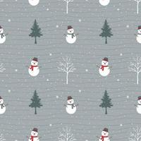 boneco de neve fofo feliz no inverno padrão sem emenda vetor