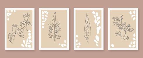 conjunto de cartaz de contorno floral abstrato vetor