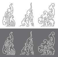 água oriental e fogo e nuvem de vetor simbólico.