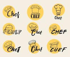 conjunto de ícones do logotipo do chef cozinheiro vetor