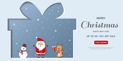 Banner de venda de feliz natal e feliz ano novo em fundo de papel cortado vetor