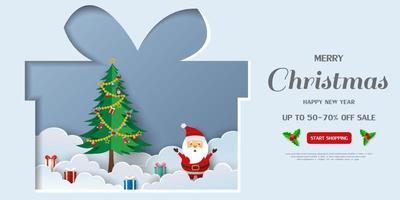 fundo de banner de venda feliz natal e feliz ano novo vetor