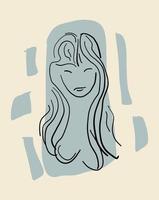 desenho de linha abstrato contemporâneo moderno mulher na moda vetor