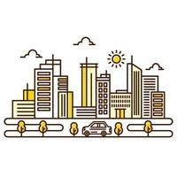 ilustração urbana em belo estilo de linha fina