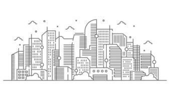 ilustração de grandes edifícios e árvores no estilo de linhas finas