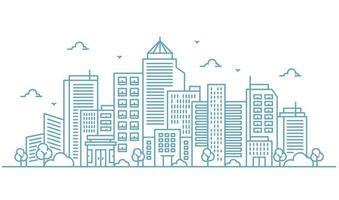 ilustração de grandes edifícios e árvores em estilo de linhas finas