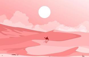 camel rider cruzando a vasta colina do deserto ilustração da paisagem árabe vetor