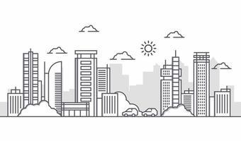 ilustração urbana com grandes edifícios com carros e árvores. atividades da cidade