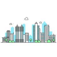 ilustração da linha da cidade com árvores