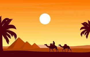 caravana de camelo cruzando pirâmide do Egito, deserto, ilustração da paisagem árabe vetor