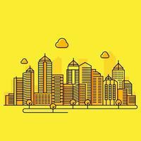 ilustração de linha da cidade em fundo amarelo