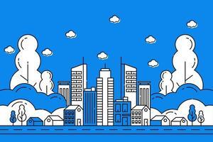 ilustração da cidade com estilo de linha fina. paisagem da cidade. ilustração vetorial de vida urbana