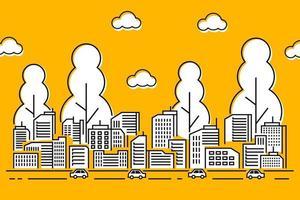 ilustração da cidade com estilo de linha fina