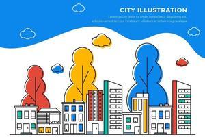 ilustração da linha da cidade com uma variedade de formas de construção