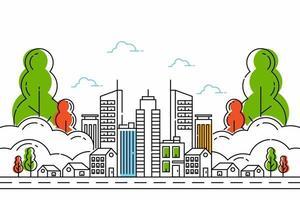 delinear a rua da cidade com edifícios. ilustração da linha da cidade