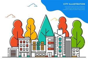 ilustrações de cidades e árvores em linhas finas
