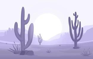 dia no vasto deserto americano ocidental com ilustração da paisagem do horizonte de cactos vetor
