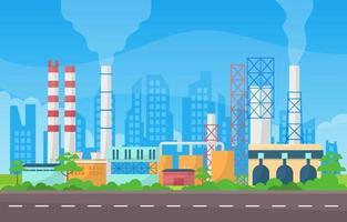 ilustração plana de edifícios de fábrica industrial vetor