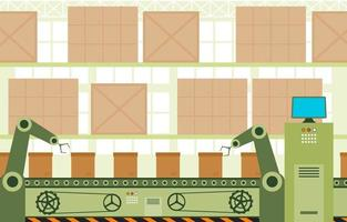 fábrica industrial com correia transportadora e ilustração de montagem robótica vetor