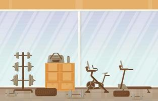 ilustração em vetor fitness ginásio interior com equipamento de musculação