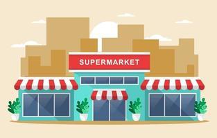 supermercado mercearia em ilustração plana de cidade vetor