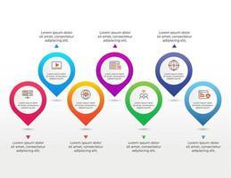elemento infográfico com 7 etapas ou opções vetor