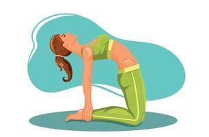 mulher praticando ioga fitness ginástica vetor