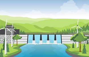 ilustração do rio fluindo através da grande barragem vetor