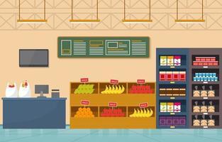 ilustração plana interior de supermercado mercearia vetor