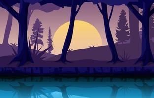 cena noturna com rio fluindo e ilustração da floresta vetor