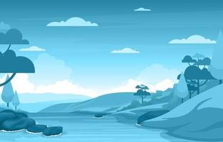 cena de floresta com ilustração de rio fluindo vetor