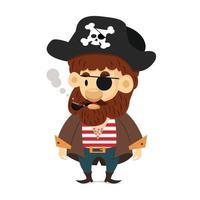 vetor de desenho animado de pirata fofo