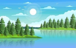 paisagem natural com rio sinuoso, montanhas e floresta