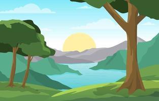 cena da paisagem matinal com rio, floresta e colinas
