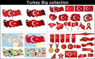 mapa da Turquia com bandeira definida vetor