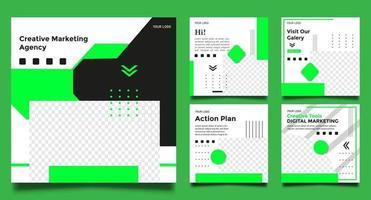 modelos de agência de marketing criativo com cor verde vetor