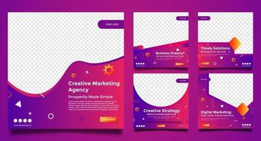 modelos de agência de marketing criativo para post conjunto de mídia social vetor