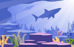 cena subaquática com ilustração de tubarão e recife de coral vetor