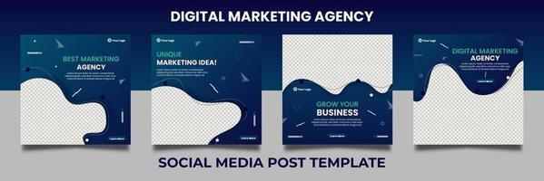modelos de banner quadrado mínimo para conjunto de marketing digital vetor